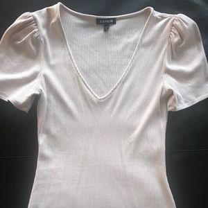 Express pink puff sleeve top tunic xs